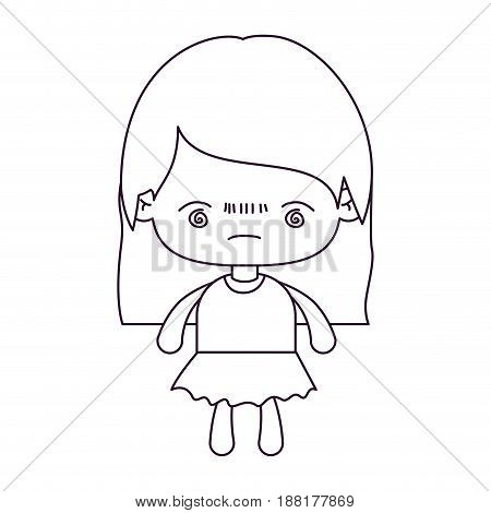 monochrome silhouette of kawaii little girl with straight hair and facial expression bored vector illustration