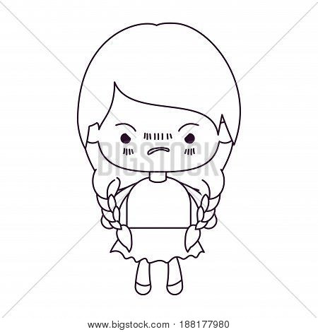 monochrome silhouette of kawaii little girl with braided hair and facial expression angry vector illustration
