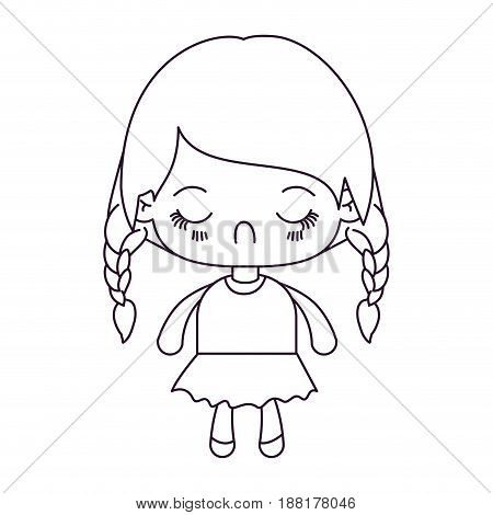 monochrome silhouette of kawaii little girl with braided hair and facial expression disgust vector illustration