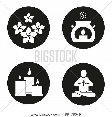 Spa salon icons set. Aromatherapy candles, yoga class, plumeria flowers. Vector white silhouettes illustrations in black circles