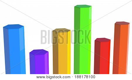 Row of six poles in different color, of different lengths. White background, isolated.