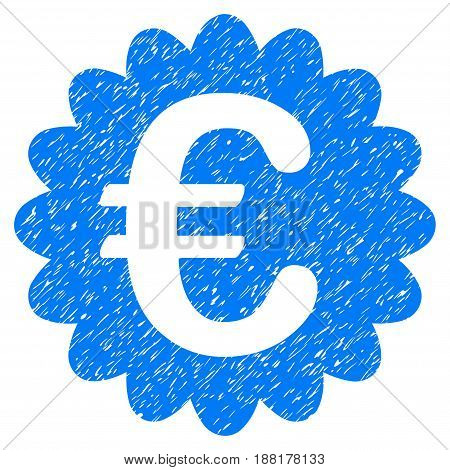 Grunge Euro Award Seal icon with grunge design and scratched texture. Unclean vector blue pictogram for rubber seal stamp imitations and watermarks. Draft emblem symbol.