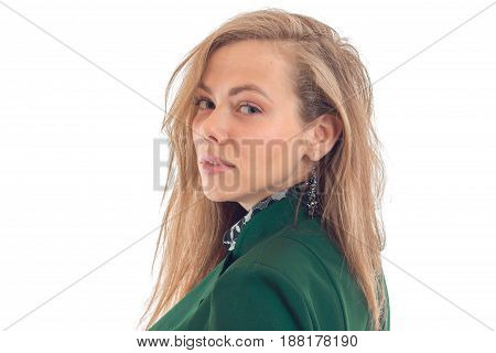 Portrait of posh blonde that looks into the camera by turning the head forward close-up isolated on white background