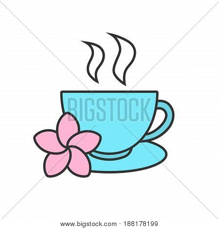 Herbal teacup color icon. Tea cup with plumeria flower. Isolated vector illustration