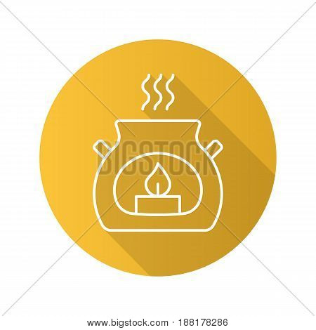 Spa salon aroma candle. Flat linear long shadow icon. Aromatherapy. Vector line symbol