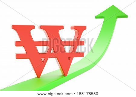 Growth green arrow with symbol of won 3D rendering