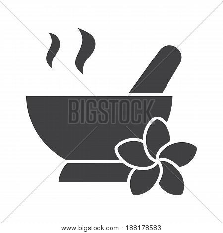 Spa salon mortar and pestle glyph icon. Silhouette symbol. Aromatherapy. Negative space. Vector isolated illustration