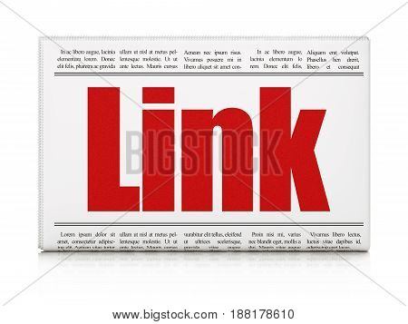 Web development concept: newspaper headline Link on White background, 3D rendering