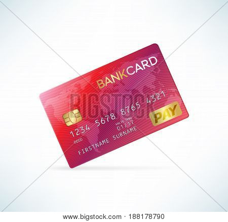 Credit card in detailed realistic style. Red color. Template vector illustration.