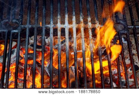 Black Burned Charcoal Bbq Grid Fire Natural