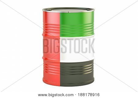 Oil barrel with flag of United Arab Emirates. Oil production and trade concept 3D rendering