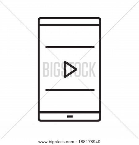 Smartphone video player linear icon. Thin line illustration. Multimedia file. Smart phone with play button contour symbol. Vector isolated outline drawing