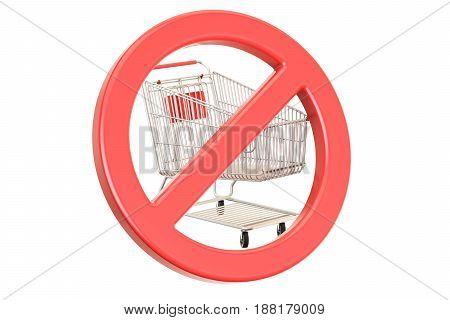 Shopping cart with forbidden prohibition sign. 3D rendering isolated on white background