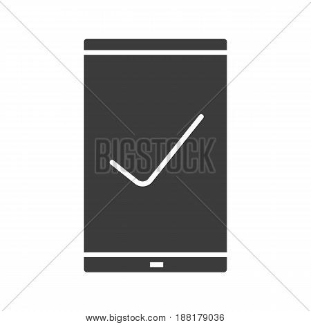 Smartphone glyph icon. Silhouette symbol. Smart phone with tick mark. Negative space. Vector isolated illustration