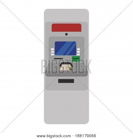 electronic cashier to withdraw cash money, vector illustration