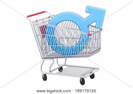Shopping cart with male gender symbol 3D rendering isolated on white background