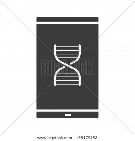Smartphone science app glyph icon. Silhouette symbol. Smart phone with DNA chain model. Negative space. Vector isolated illustration