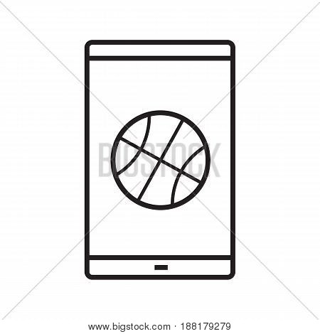 Smartphone basketball app linear icon. Thin line illustration. Smart phone with basketball ball contour symbol. Vector isolated outline drawing