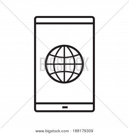 Smartphone network connection linear icon. Thin line illustration. Smart phone with globe model contour symbol. Vector isolated outline drawing