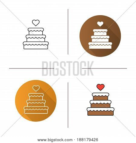 Wedding cake icon. Flat design, linear and color styles. Chocolate cake with heart shape above. Isolated vector illustrations