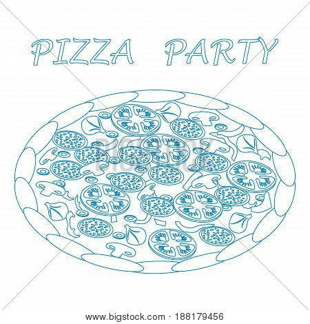Nice Illustration Of Tasty, Appetizing Pizza With Inscriptions.