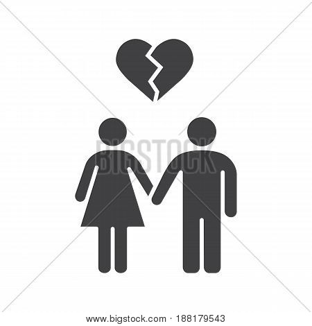 Lovers breakup glyph icon. Divorced couple silhouette symbol. Man and woman with broken heart shape above. Negative space. Vector isolated illustration