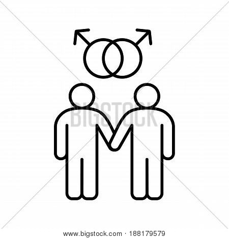 Gay couple linear icon. Thin line illustration. Gay boys with interlocked Mars signs above. Two men holding hands contour symbol. Vector isolated outline drawing