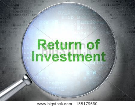 Finance concept: magnifying optical glass with words Return of Investment on digital background, 3D rendering