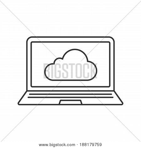 Laptop cloud computing linear icon. Web storage. Thin line illustration. Notebook with cloud contour symbol. Vector isolated outline drawing