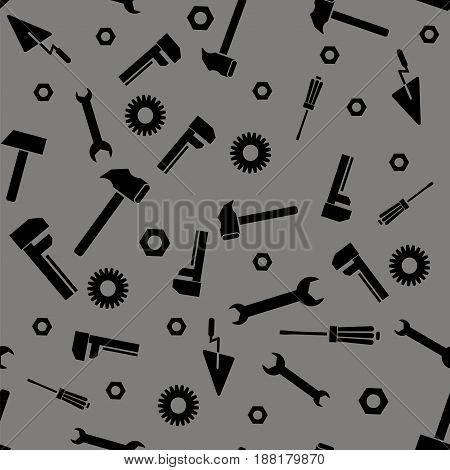 Instruments Silhouette Seamless Pattern on Grey Background