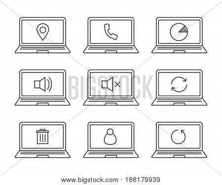 Laptops linear icons set. Laptops with gps pinpoint, user, trash, reload arrows, mute on and off, statistics, phone. Thin line contour symbols. Isolated vector illustrations