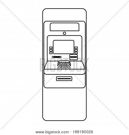 line electronic cashier to withdraw cash money, vector illustration