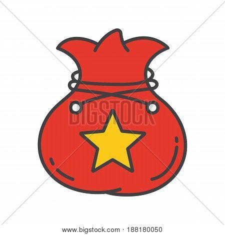 Bag color icon. Sack with rope and star mark. Isolated vector illustration