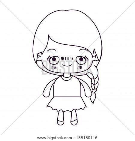 monochrome silhouette of kawaii cute little girl with braided hair and embarrassed facial expression vector illustration