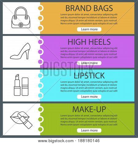 Women's accessories banner templates set. Handbag, lipstick, high heel shoe. Website menu items with linear icons. Color web banner. Vector headers design concepts