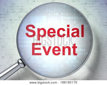 Business concept: magnifying optical glass with words Special Event on digital background, 3D rendering
