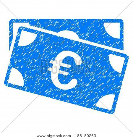 Grunge Euro Banknotes icon with grunge design and scratched texture. Unclean vector blue pictogram for rubber seal stamp imitations and watermarks. Draft sticker symbol.