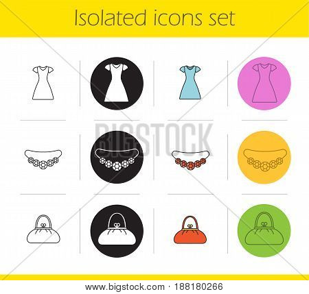Women's accessories icons set. Linear, black and color styles. Gemstone necklace, sun frock, purse. Isolated vector illustrations