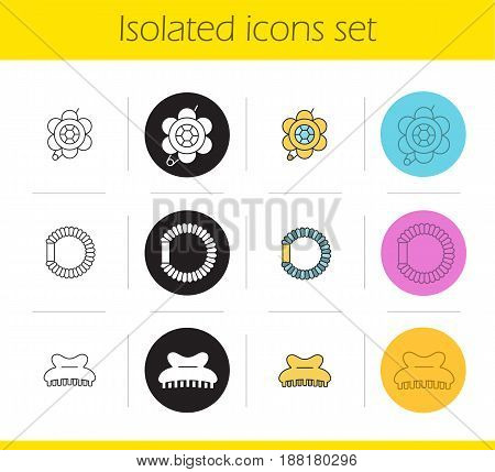 Women's accessories icons set. Linear, black and color styles. Brooch, hair scrunchy, claw clip. Isolated vector illustrations