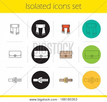 Women's accessories icons set. Linear, black and color styles. Scarf, clutch, leather belt. Isolated vector illustrations