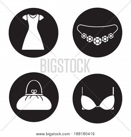 Women's accessories icons set. Gemstone necklace, sun frock, purse, bra. Vector white silhouettes illustrations in black circles