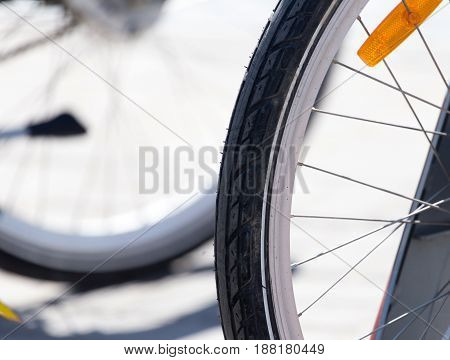 Wheel from a bicycle on nature as background