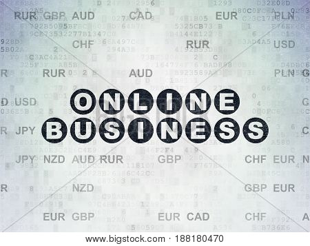 Business concept: Painted black text Online Business on Digital Data Paper background with Currency
