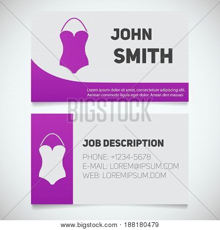 Business card print template with swimsuit logo. Manager. Women's swim suits shop. Stationery design concept. Vector illustration