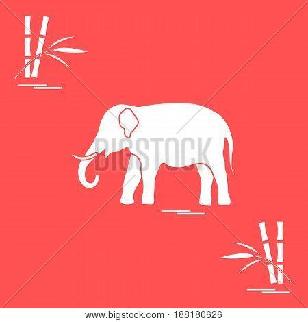 Stylized Icon Of Elephant And Bamboo.