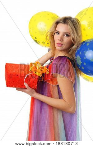 young caucasian blond female  with colourful balloons and present