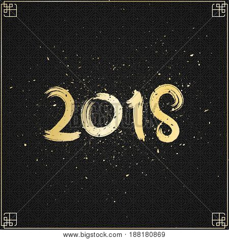 2018 year of the dog. Golden numbers in grunge style on a black background with a dark pattern. Chinese New Year. Eastern horoscope. Cover for the project. Gold dust. Vector illustration