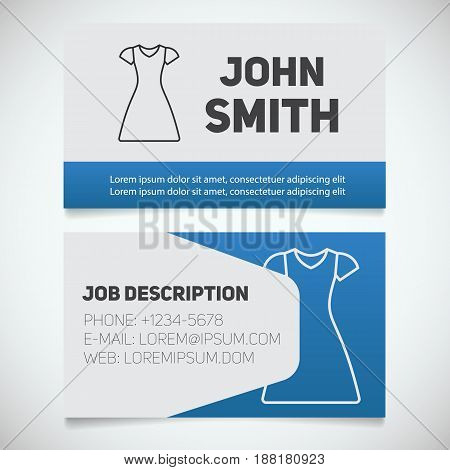 Business card print template with sun frock logo. Women's dresses shop. Stationery design concept. Vector illustration