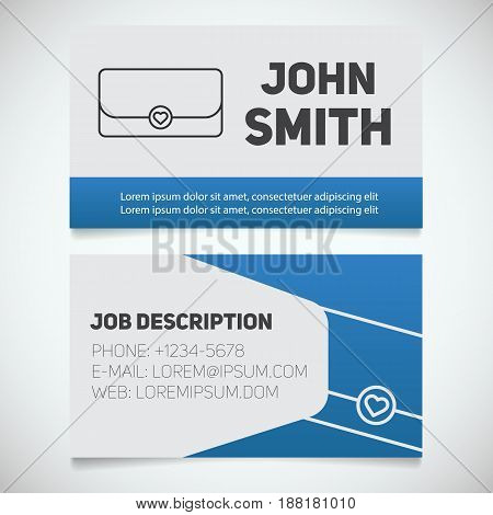 Business card print template with clutch logo. Women's handbags shop. Stationery design concept. Vector illustration