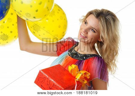 young attractive female posing with colourful balloons isolated on white background